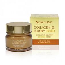 Крем жидкий коллаген с золотом 3W Clinic Collagen & Luxury Gold Cream